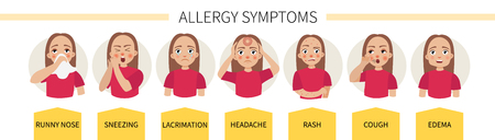 Allergy symptoms - lacrimation, sneezing, cough, runny nose, headache, rash, swelling Foto de archivo - 112364918