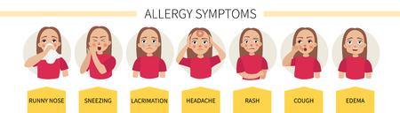 Sintomi di allergia - lacrimazione, starnuti, tosse, naso che cola, mal di testa, eruzioni cutanee, gonfiore