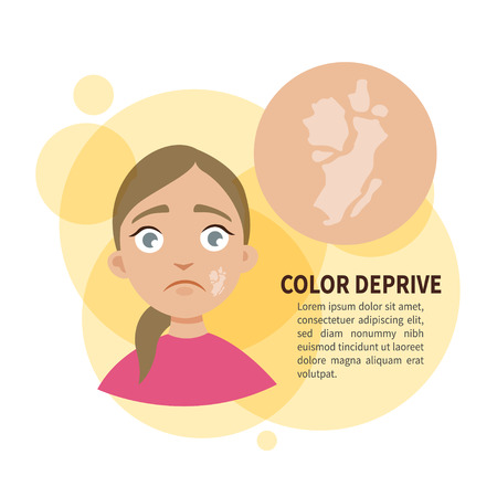 Vector poster. Color deprive. Sad cute girl. Disease of the skin.
