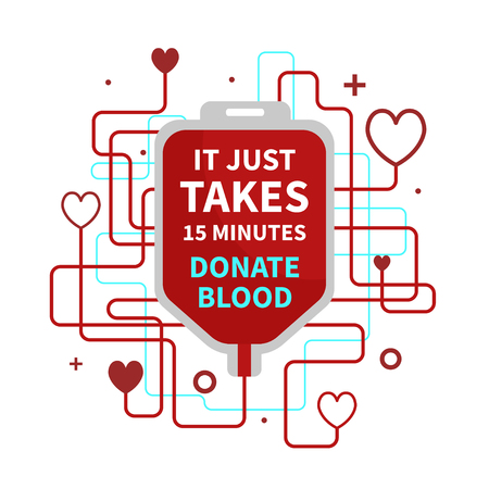 World Blood Donor Day Banner with a Red Blood Bag and Text. Vector illustration of blood donation concept with hearts Illustration