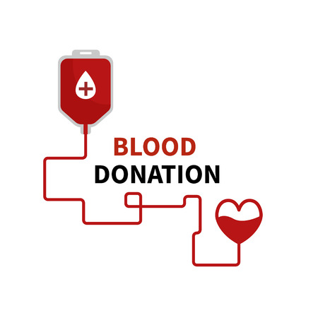 Blood Donation Concept with drop shape and heart.