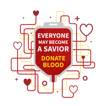 Blood Donation vector illustration with red heart and drop counter. World Blood Donor Day Banner with a Red Blood Bag and Text. Illustration