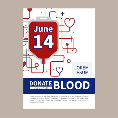 Blood donation vector illustration. Blood Donor Day. Save a life. Infusion therapy.