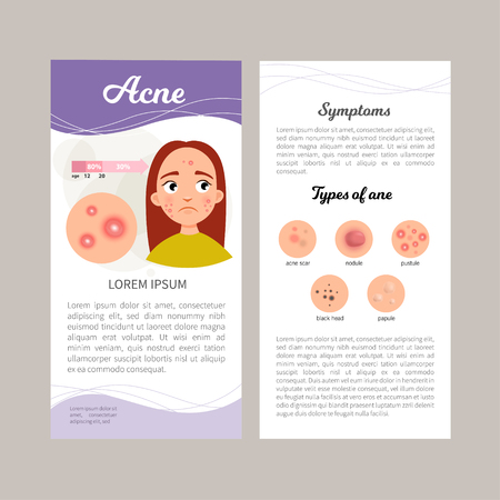 Infographics of acne. Statistics, causes, treatment of the disease. Illustration of a cute sad girl. Concept flyer.