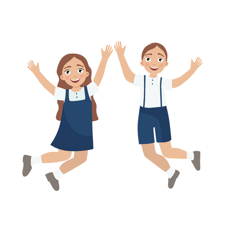 cute boy and girl in school uniform. The beginning of the school year. Back to school.