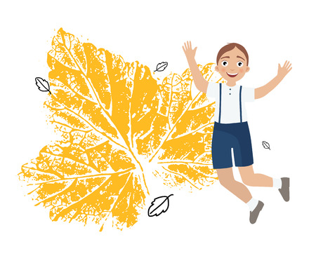 Illustration of a cute little boy in school clothes. A leafprint. The beginning of the school year. Template for postcard, poster, banner.