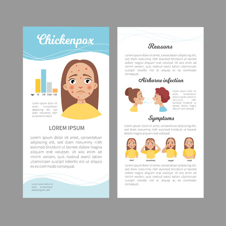 Infographics of chicken pox. Statistics, causes, treatment of the disease. Illustration of a cute sad girl. Concept flyer.