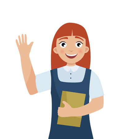 Cute red-haired girl in school uniform waving. Back to school.