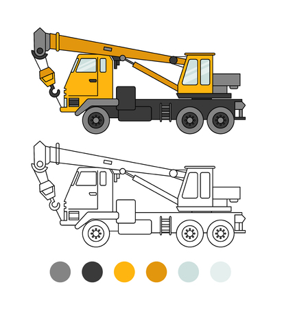 Truck crane line illustration. The coloring book for preschool kids with simple educational gaming level. Special equipment Vector Illustration