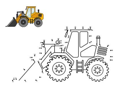 Speciale benodigheden. Bulldozer. Verbind de stip en kleur. Spel voor voorschoolse kinderen met eenvoudig educatief spelniveau.