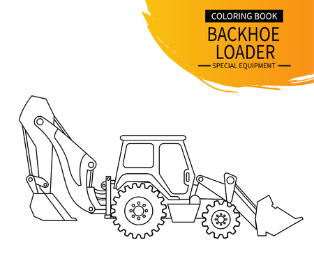Backhoe loader line illustration. The coloring book for preschool kids with simple educational gaming level.