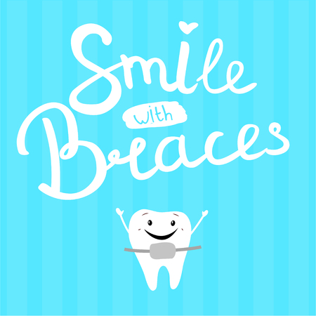 Vector illustration of smile in braces on a blue background. Happy tooth.