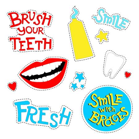 Insignias de parche de vector con boca, dientes, pasta de dientes y frases motivacionales Ilustración de vector