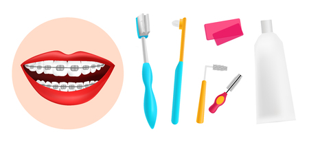 Vector illustration. A set of tools for cleaning braces. Teeth with braces