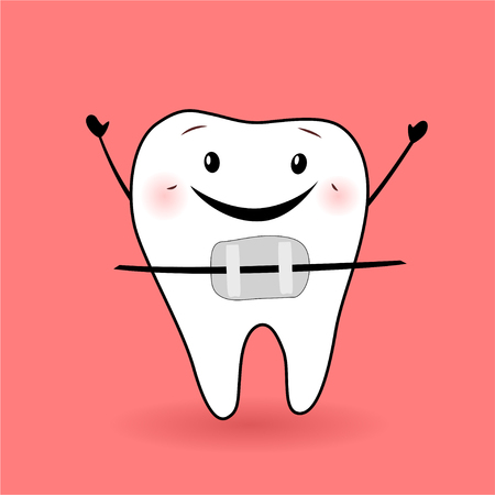 Vector illustration of a happy tooth. Braces.