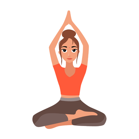 Vector illustration of girl practicing yoga  イラスト・ベクター素材
