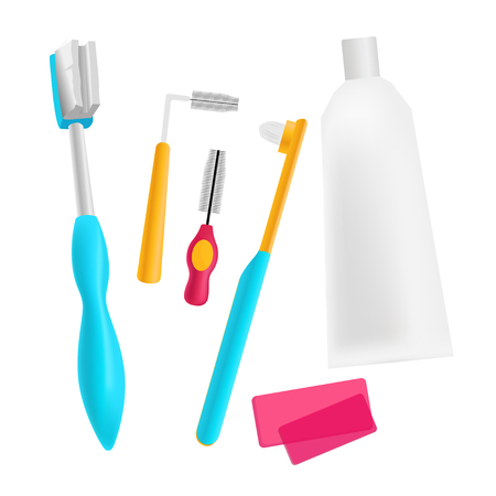Vector set of tools for cleaning braces
