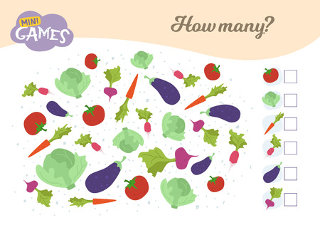 How many, education game for children. Count how many vegetables.