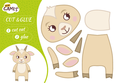 Education paper game for preshool children. Vector illustration. Cartoon cute goat.