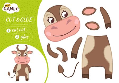 Gioco di carta educativo per bambini in età prescolare. Illustrazione vettoriale. Mucca sveglia del fumetto.
