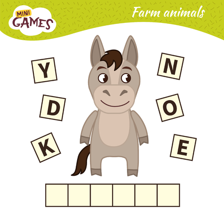 Words puzzle children educational game. Place the letters in right order. Learning vocabulary.  Cute cartoon donkey. Ilustração