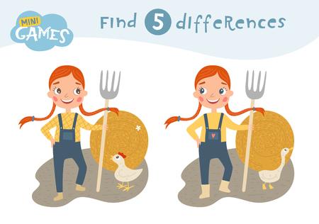 Trova le differenze, gioco educativo per bambini, la ragazza con le trecce tiene in mano un forcone. Una pila di fieno. Animali in fattoria