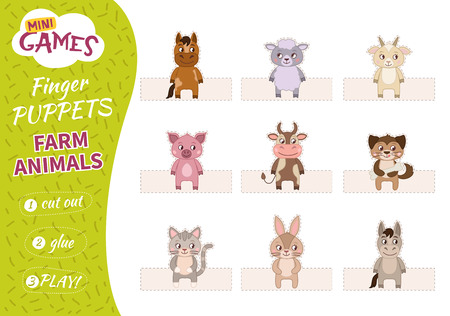 A set of finger puppets for children. Cut, glue and play. Farm animals.