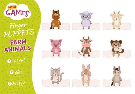 Ein Set Fingerpuppen für Kinder. Ausschneiden, kleben und spielen. Nutztiere.