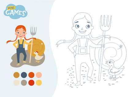 Coloring book for children. The girl with pigtails is holding a pitchfork. A stack of hay. Animals on the farm