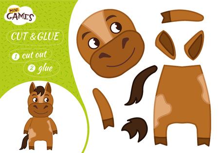 Jeu de papier éducatif pour les enfants d'âge préscolaire. Illustration vectorielle. Cheval mignon de dessin animé.