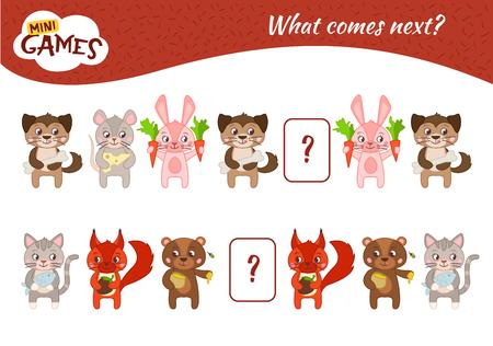 What comes next educational children game. Kids activity sheet,  Cartoon animals. Illustration
