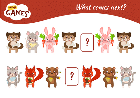 What comes next educational children game. Kids activity sheet,  Cartoon animals. Ilustração