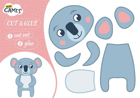 Jeu de papier éducatif pour les enfants d'âge préscolaire. Illustration vectorielle. Renard mignon de dessin animé.