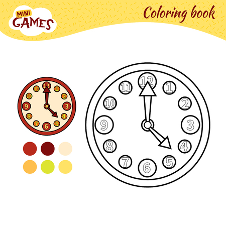 Coloring book for children. Cartoon red clock. Illustration
