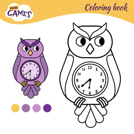 Coloring book for children. Cartoon owl-clock Illustration