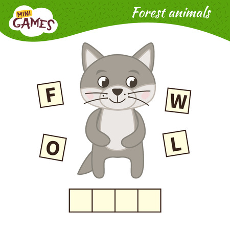Words puzzle children educational game. Place the letters in right order. Learning vocabulary. Cartoon wolf. Forest animals.