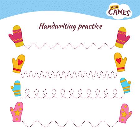 Hoja de práctica de escritura a mano. Escritura básica. Juego educativo para niños. Mitones de dibujos animados. Ilustración de vector