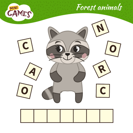 Words puzzle children educational game. Place the letters in right order. Learning vocabulary. Cartoon raccoon. Forest animals.