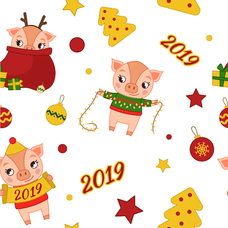Seamless Christmas pattern with cartoon cute pigs. Design for banner, poster or print. Иллюстрация