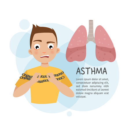 Illustration of a boy with shortness of breath. Template for medical brochures, magazines, posters. Diseases of the lungs.