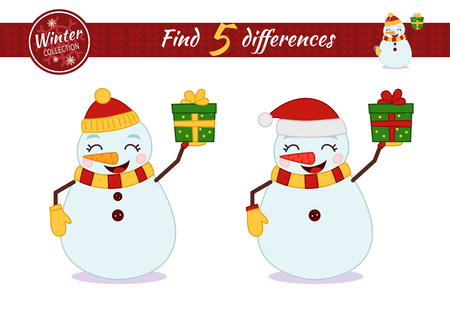 Find differences.  Educational game for children. Cartoon vector illustration. Christmas collection. Ð¡artoon snowman holding a gift.