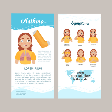 Asthma infographics. Flyer with a description of the disease. Illustration of a cute girl. Symptoms of the disease. Statistics. Health care concept vector illustration.
