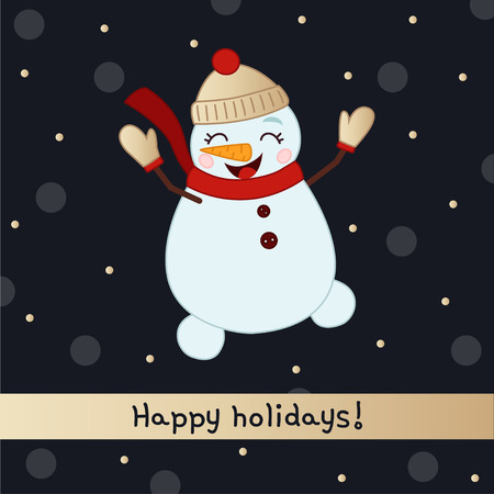 vector greeting card Happy new year !. Symbol 2019 Chinese year. A snowman cartoon jumps. Shadow background in polka dots.