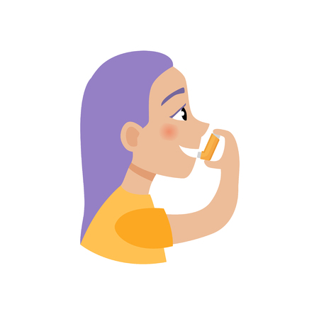Vector illustration of a cute cartoon girl with an inhaler. Diseases of the lungs concept