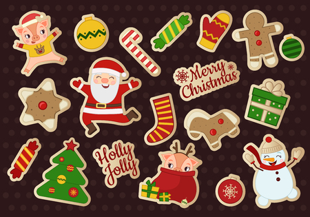 Vector set of Christmas stickers. Symbols of the holiday. Cartoon images of a snowman, Santa Claus, a pig. Stock Illustratie