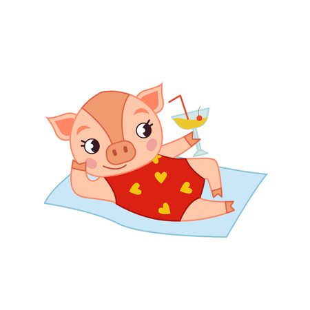 Cute pig in a striped swimsuit. Template for children's postcards, posters. Foto de archivo - 109997599