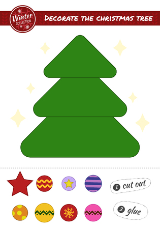 Education paper game for preshool children. Vector illustration. Decorate up the Christmas tree. Cut the toys and paste them