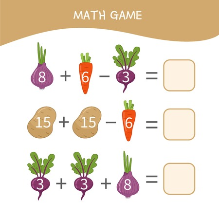 Counting educational children game, math kids activity sheet. Cartoon vegetables.