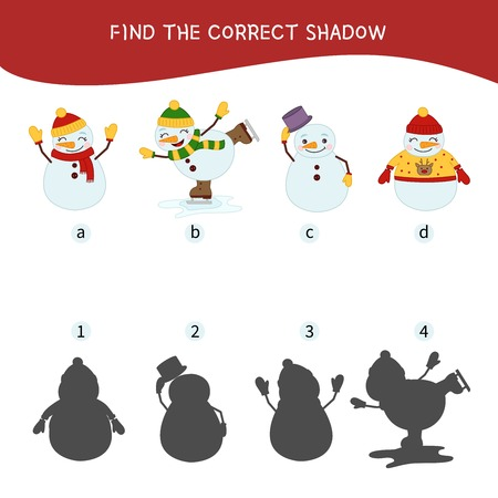 Educational game for children. Find the right shadow. Kids activity with cartoon snowmans.
