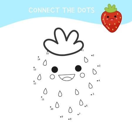 Educational game for kids. Dot to dot game for children. Cartoon strawberry. Vetores